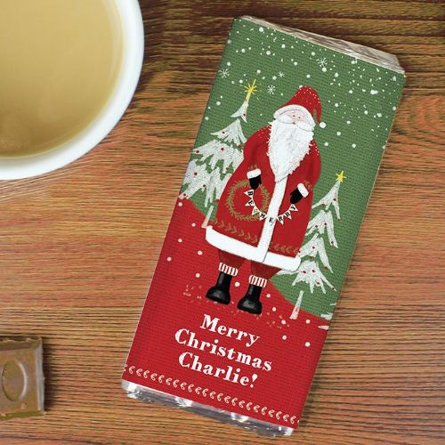 Personalised Father Christmas Chocolate Bar.